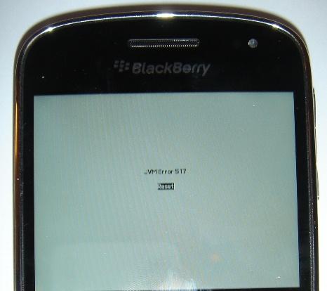 blackberry jvm error 517 reset