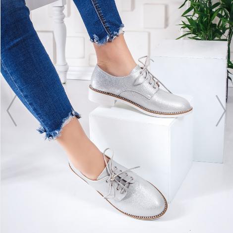 Pantofi casual dama argintii din piele ecologica moderni ieftini