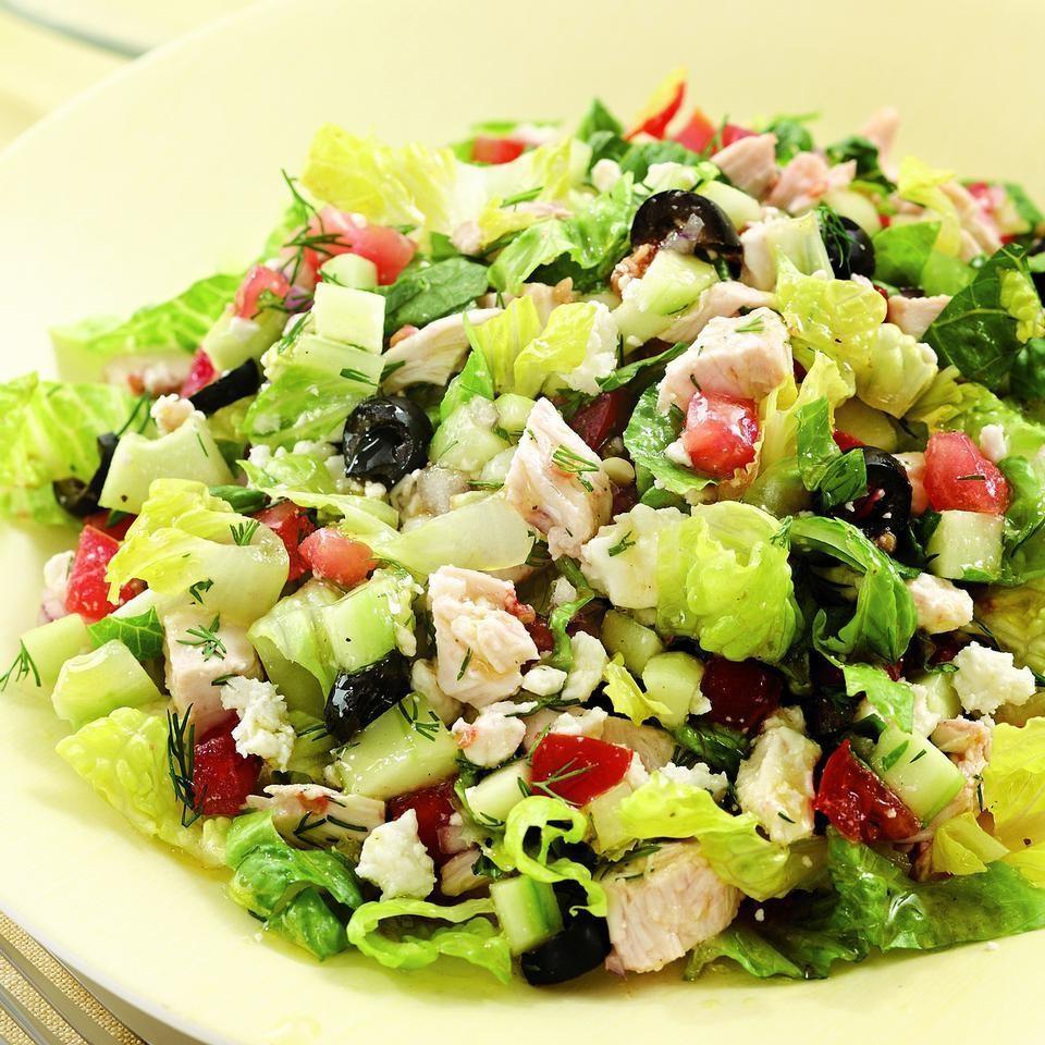 Chopped Greek Salad With Chicken Recipe | Mediterranean ...