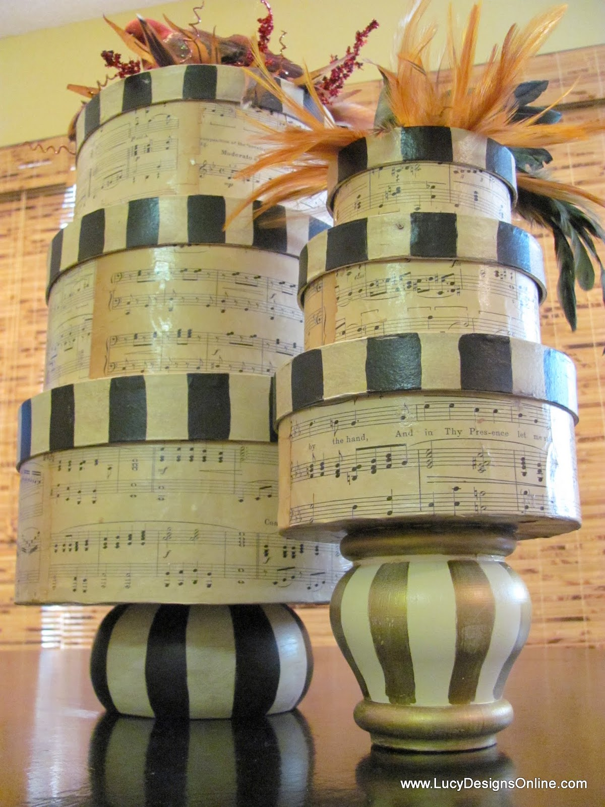 sheet music decoupaged paper mache boxes