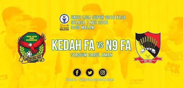 Live Streaming Kedah vs Negeri Sembilan 1.5.2018 Liga Super