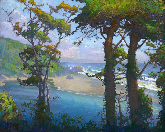 "by Peter Adams, ""Klamath River Meets the Sea - Northern California"" - oil on panel 