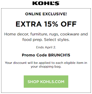 Kohls coupon 15% Off Home Decor, Furniture, Rugs