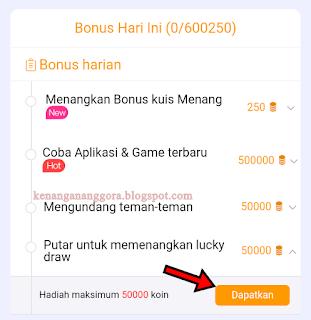 Mendapatkan Koin Cashzine dari Lucky Draw