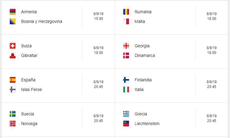8 Calendario eliminatorias Eurocopa 2020 - 8 de septiembre 2019. Partidos de clasificación Eurocopa 2020. Juegos de las eliminatorias Eurocopa 2020. Partidos, fechas, hora, transmisiones eliminatorias Eurocopa 2020. Donde ver la Eurocopa 2020