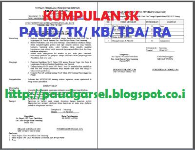 Contoh SK Guru Paud/ TK/ KB/ TPA Yang Baik dan Benar