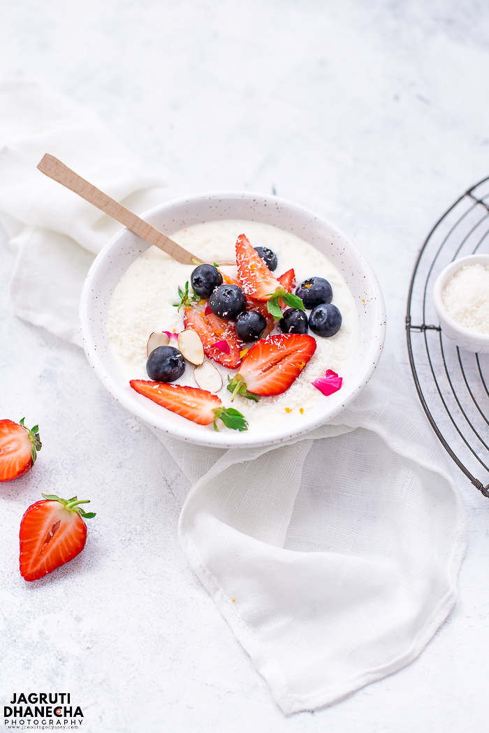 The best Fruity Coconut Rice Pudding is made with rice and coconut milk and topped with plenty of fresh berries and almonds. This delicious dessert recipe is enjoyed by the whole family and for those who are following a plant-based diet. If you're a fan of rice pudding and berries, you'll love this dessert.