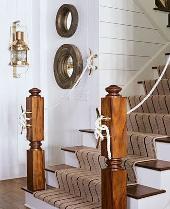 staircase with nautical boat cleats