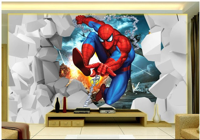 spiderman wall mural Photo wallpaper 3d children marvel comics Kids Boys spiderman room
