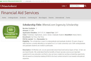 8rental.com scam: Fake scholarship posted by 8rental.com on the website of the University of Massachusetts Amherst