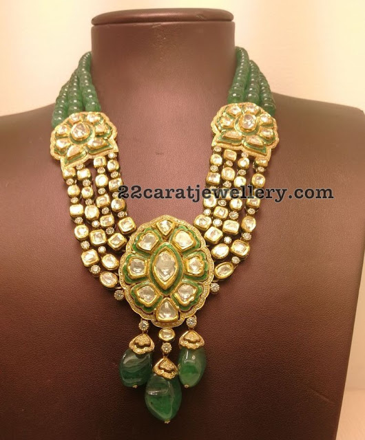 Kundan Polki Necklace with Emerald Beads