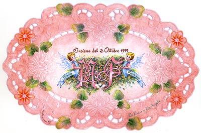 arazzo nozze dipinto a mano pennarelli indelebili angeli e monogrammi