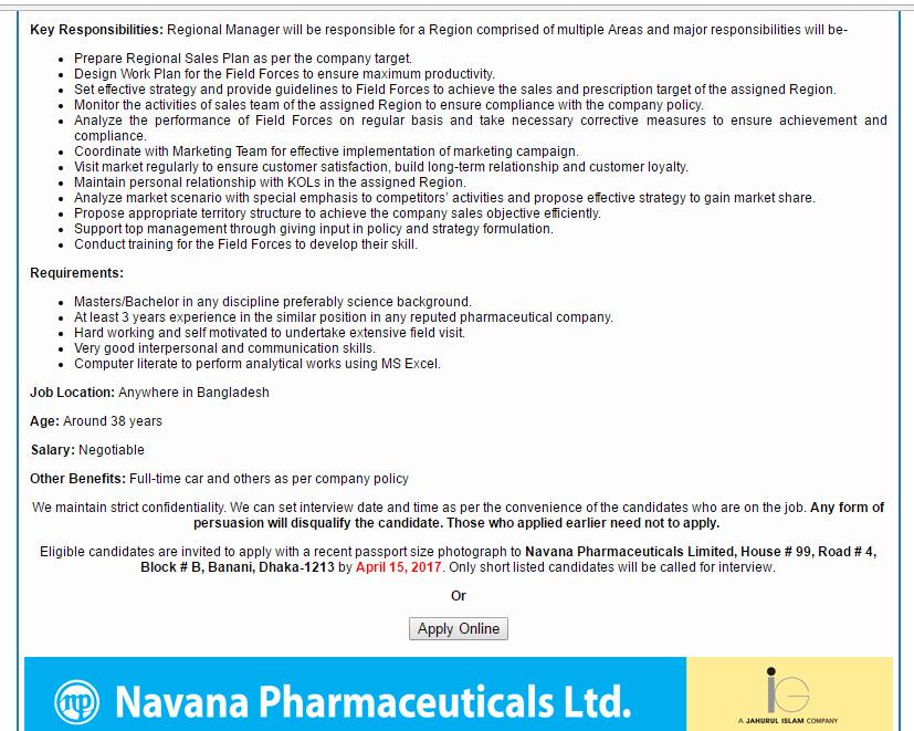 Navana Pharmaceuticals Ltd - Position: Regional Manager