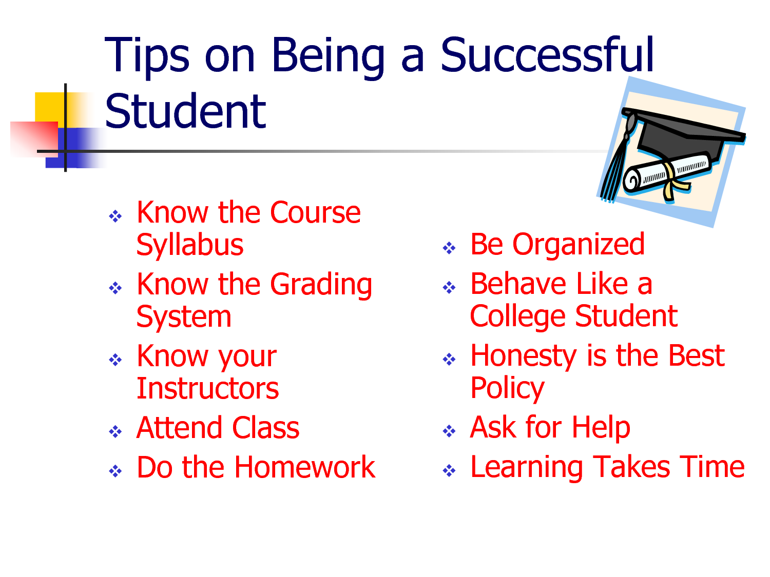Tips for successful students