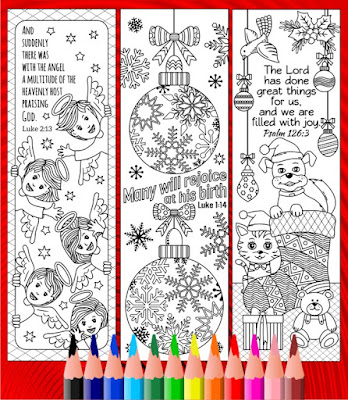 coloring bookmarks patterns christmas