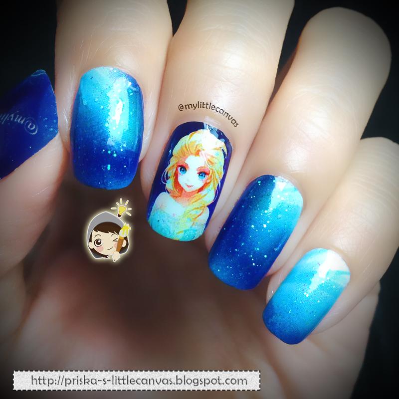 @MyLittleCanvas: FROZEN Nail Art: Elsa