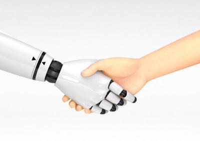 Robot handshakes lady