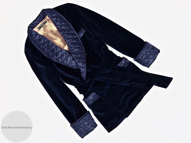 mens blue velvet robe quilted silk smoking jacket warm dressing gown vintage english gentleman
