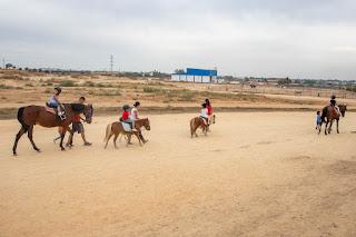 Algunos peques montando a caballo