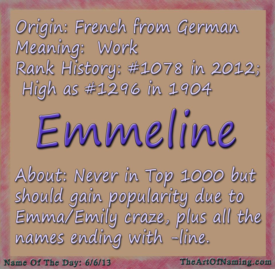 The Art of Naming: Name of the Day: Emmeline