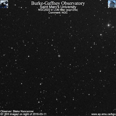 luminance photograph of planetary nebula NGC 2022