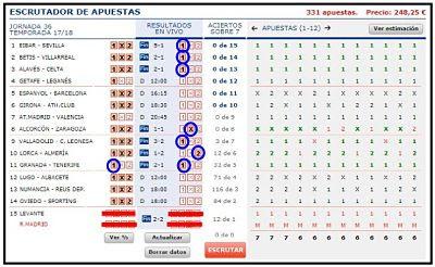 Quinielista , resultados de los partidos del sabado