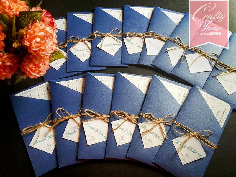 Handmade boarding pass airmail destination theme, navy blue
