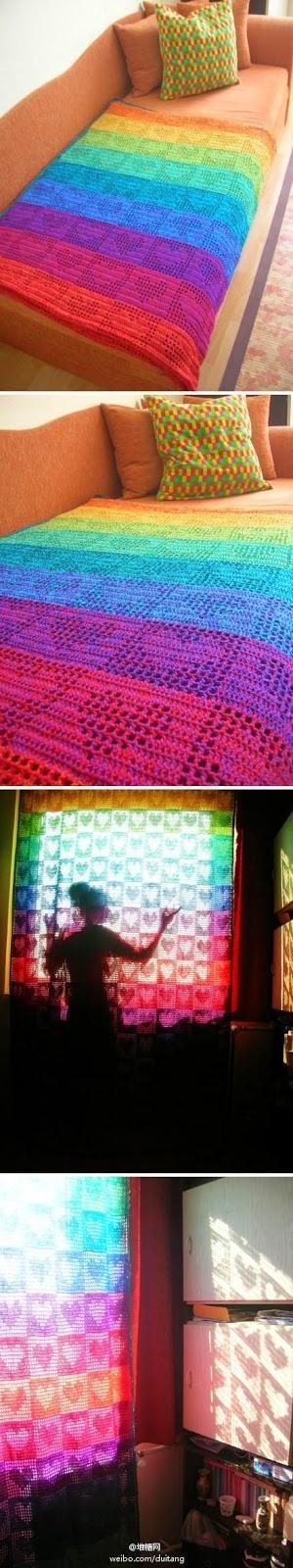 Idea: Decoramos con crochet filet aplicado a manta o cortina