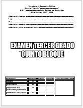 Exámenes Tercer grado Bloque V Ciclo Escolar 2017-2018