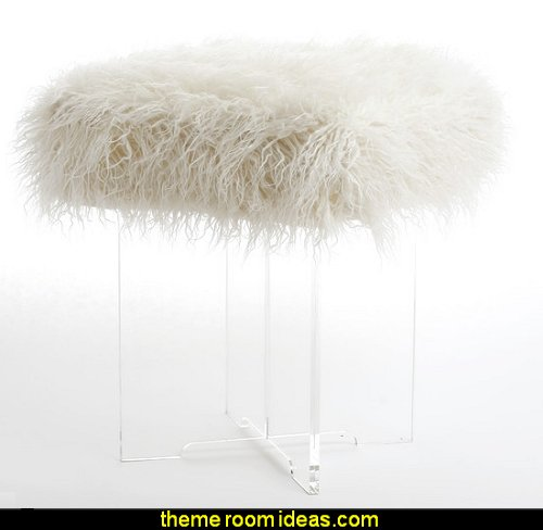 Lopez Cross Leg Stool   faux fur home decor