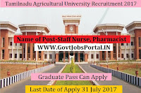 Tamilnadu Agricultural University Recruitment 2017– Staff Nurse, Pharmacist