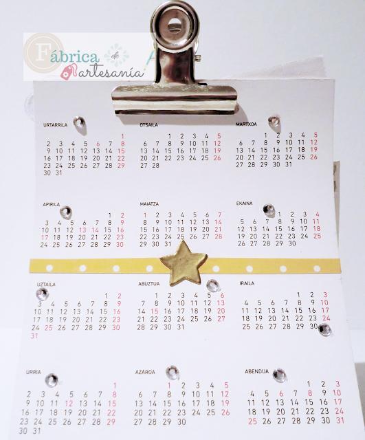 Trasera de mi calendario sin apenas decorar