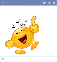 Smiley dancing on music
