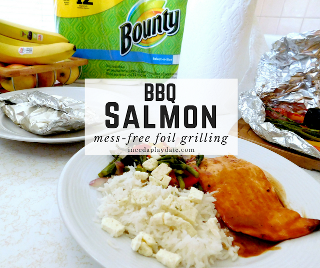 Grilled Foil Packet BBQ Salmon + Veggies #CurbsideConvenience