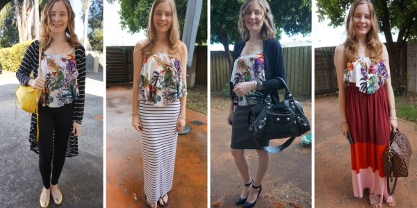 4 Ways to Wear a botanical print floral ruffle cami | away from the blue blog