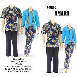 model kebaya batik pasangan Amara biru