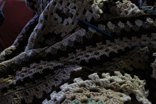 crochet, WIP, afghan, finished project, granny square, Caron One Pound
