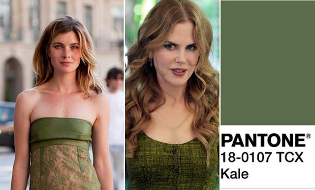 Цвет Pantone 2017 года Kale на шатенке и блондинке