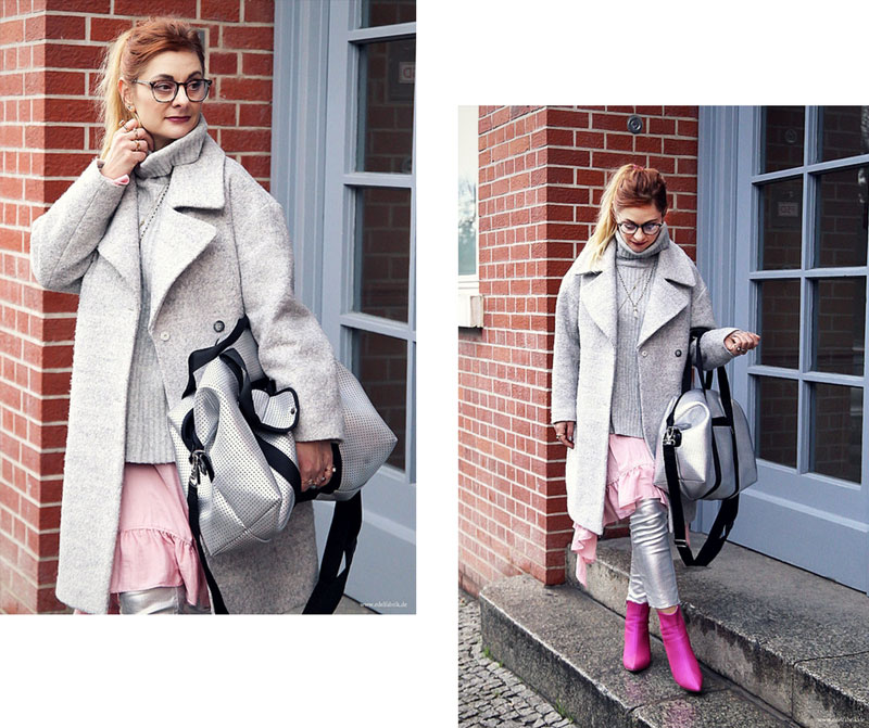 Silberne Hose und Schuhe in Pink