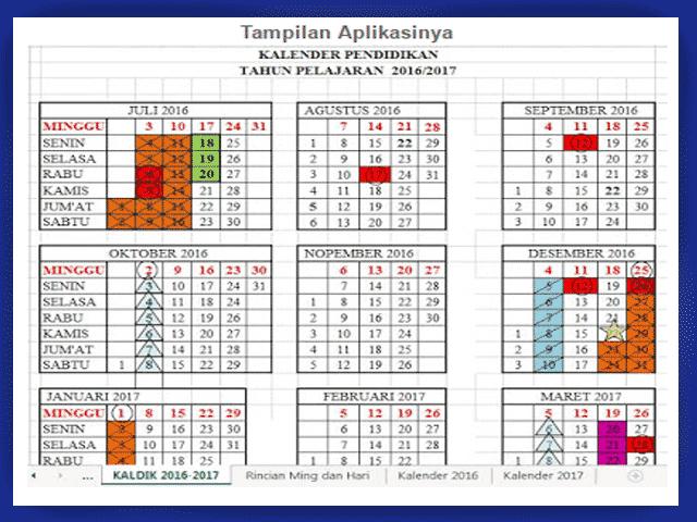 Aplikasi Kalender Pendidikan Tahun 2016/2017 Plus Dengan Rincian Hari Efektif
