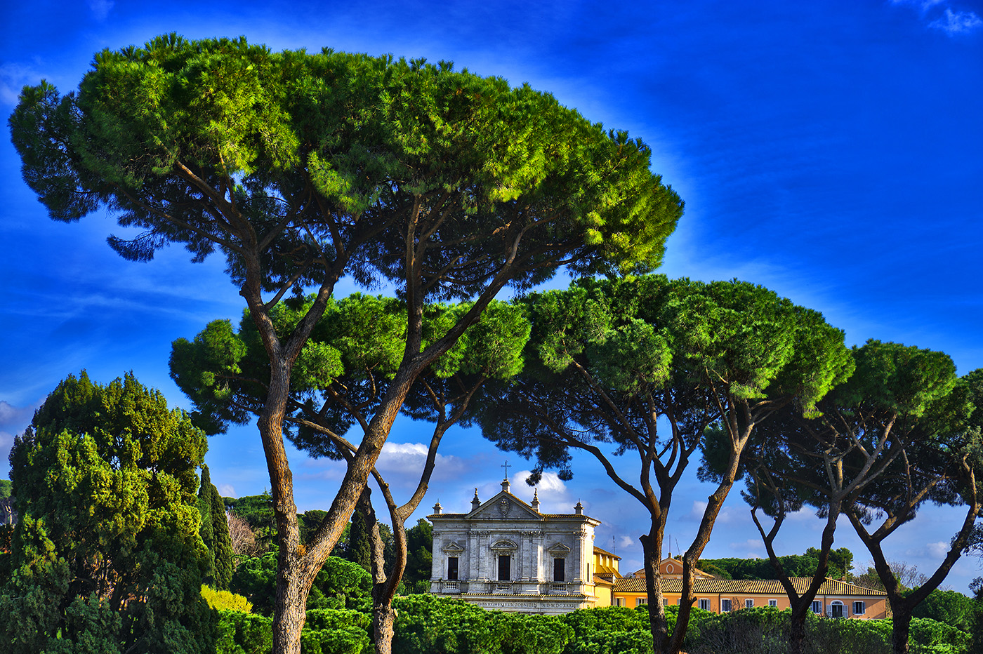 View of San Gregorio al Celio from Palatine Hill in Rome, Italy