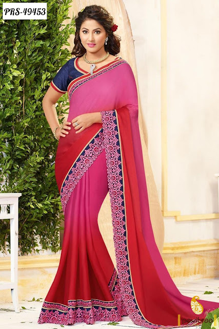 Wedding waer trendy pink chiffon designer saree online shopping with free home delivery at pavitraa.in