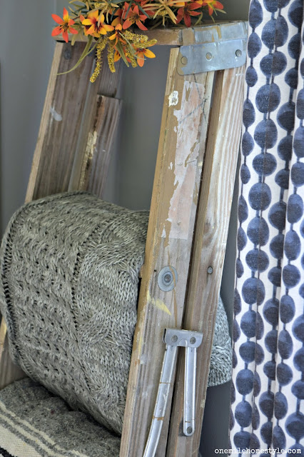 Trash to treasure: old and worn step ladder turned into a beautiful rustic blanket ladder