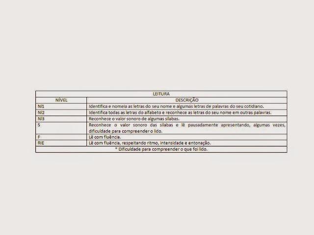 Fichas de Acompanhamento do nível da leitura e escrita