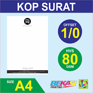 Cetak Kop Surat 1 Warna  HVS 80 GSM
