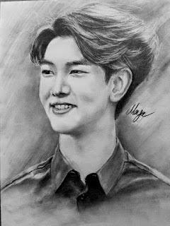 Karakalem Güney Koreli ünlüler çizimim Kang Min Hyuk Mayaca çizimler