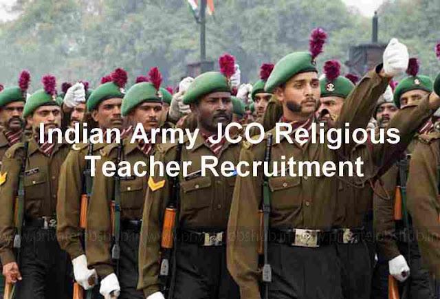 Indian Army JCO Religious Teacher Recruitment