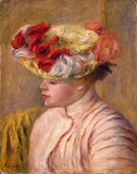Young Woman in a Flowered Hat by Pierre-Auguste Renoir - Portrait Paintings from Hermitage Museum