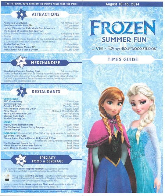 Frozen Summer Fun Disney's Hollywood Studios Times Guide August 10-16 2014