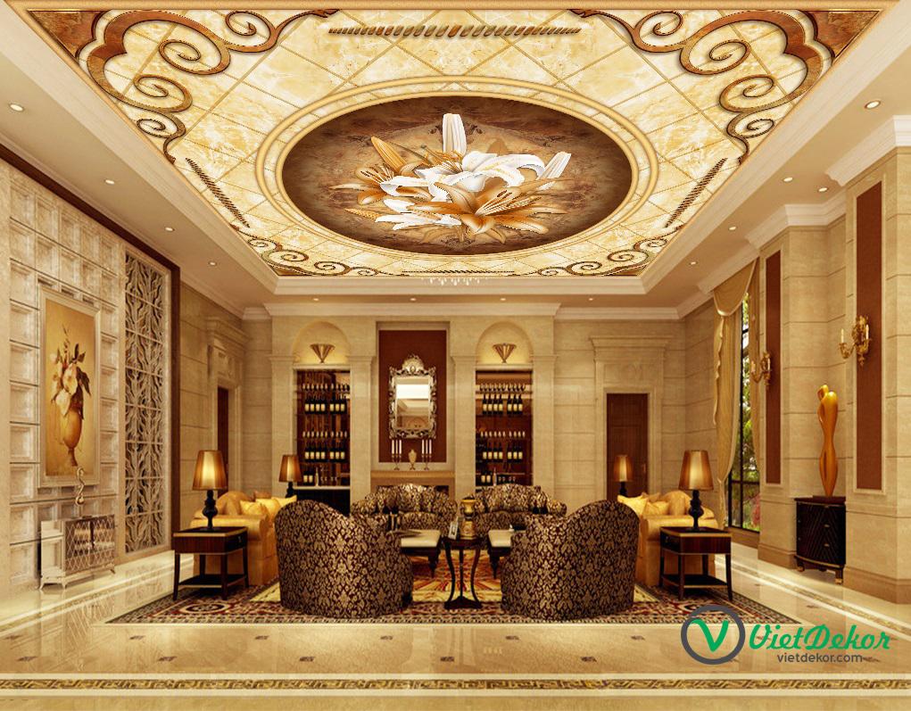 Tranh trần 3d hoa văn trang trí trần phòng khách đẹp